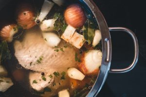chicken soup in a pot